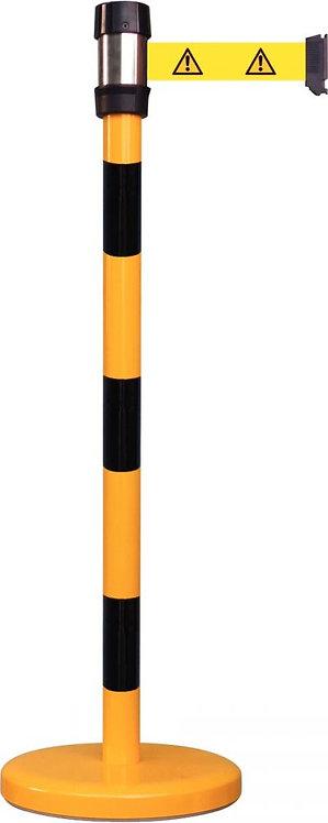 Poteau de guidage sécurité avec sangle picto noir/jaune 2,30M