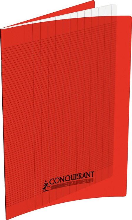 Piqûre 32 pages 17x22 cm seyès 2,5 mm papier 90g couverture polypropylène rouge