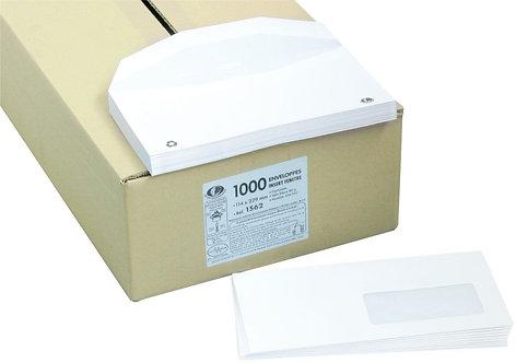 Boîte 1000 enveloppes blanches114x229 80g/m² fenêtre 45x100 mise sous pli auto