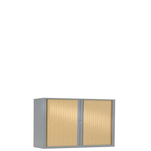Armoire à rideaux bicolore 69.5 x 100 cm - Corps gris aluminium - Rideaux bois