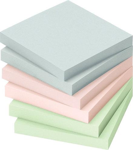 Lot 12 blocs notes repositionnables100 feuilles 75x75mm couleurs pastels