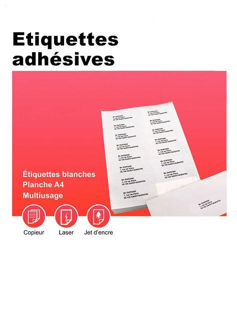 Boîte 100 planches étiquettes adresse multi-usages 210x297mm. Coin carré