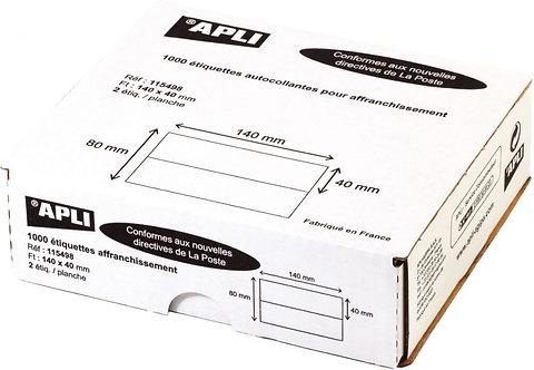 Boîte de 1000 étiquettes d'affranchissement 140x40mm - 2 poses