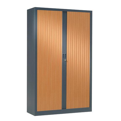 Armoire à rideaux bicolore 198 x 120 cm - Corps Anthracite - Rideaux bois
