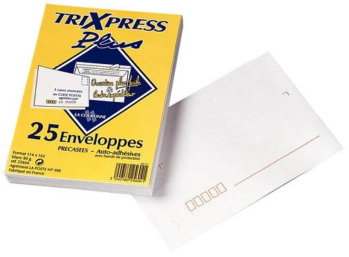 Paquet 25 enveloppes blanches précasées C6 114x162 80g/m² bande de protection