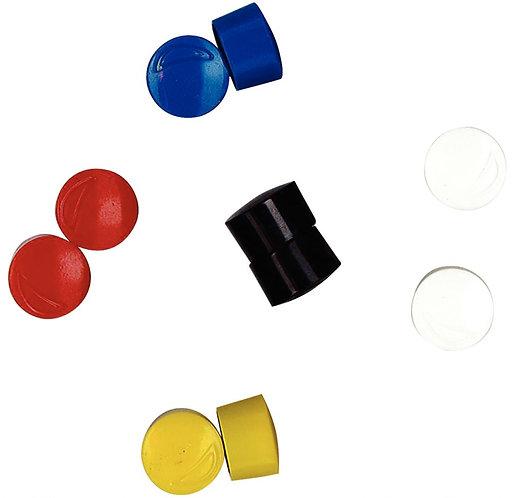 Blister de 10 punaises magnétiques, diamètre 12 mm assortis