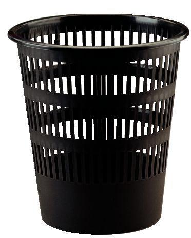 Corbeille à papier plastique ronde ajourée 16L Noir