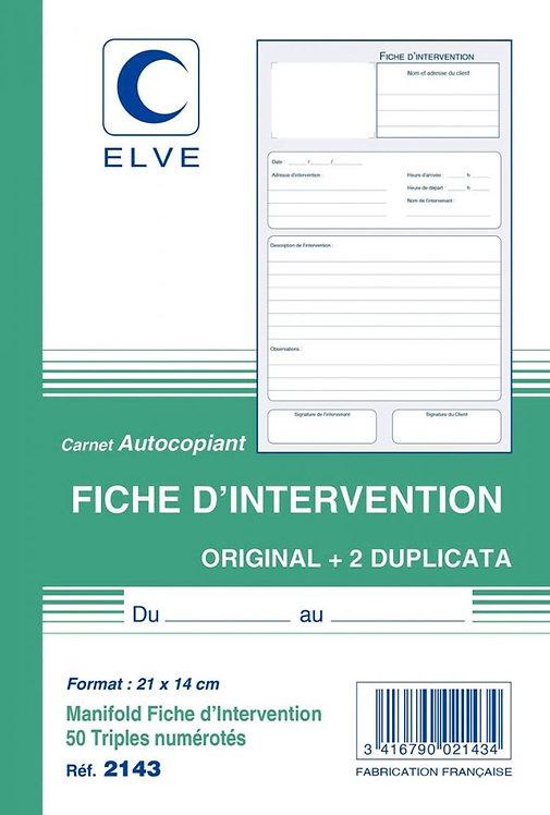 Manifold Fiche d'intervention 50 triplicatas