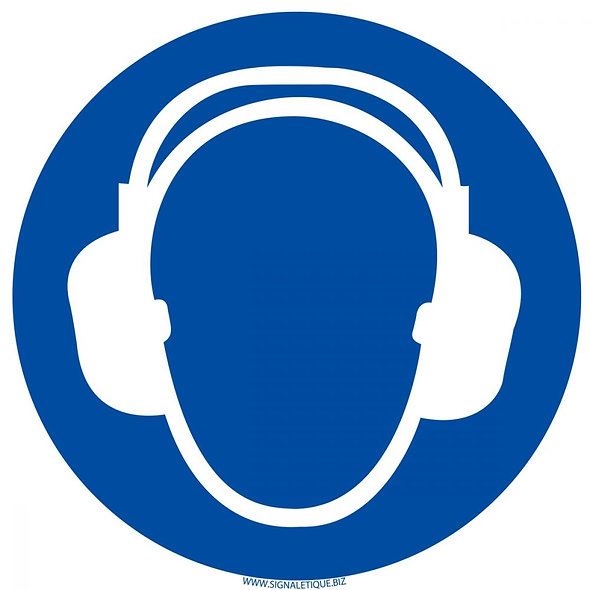 Panneau casque anti-bruit obligatoire