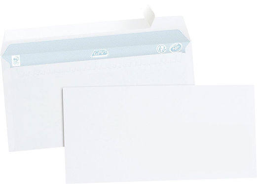 Boîte 500 enveloppes blanches DL 110x220 80g/m² bande de protection