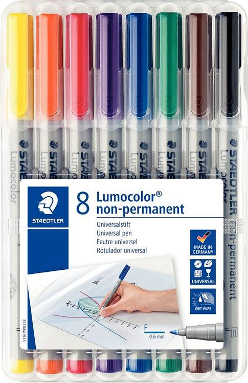 Pochette de 8 feutres Lumocolor non-permanent pointe fine 0,6mm assortis