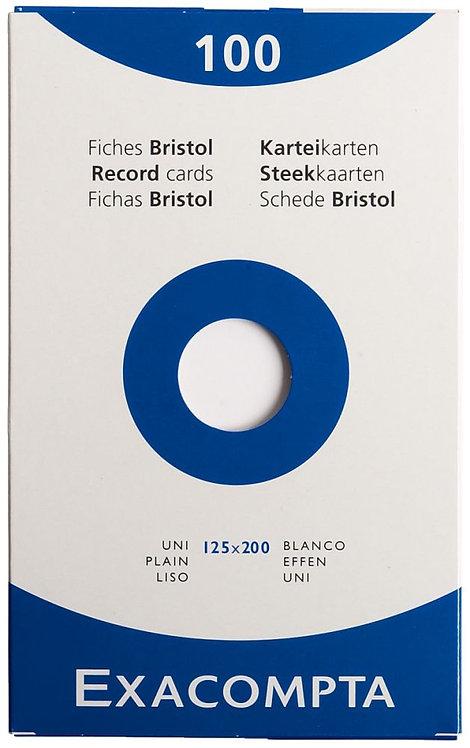 Boîte 100 fiches bristol non perforées carte forte 210g uni blanc 12,5x20 cm