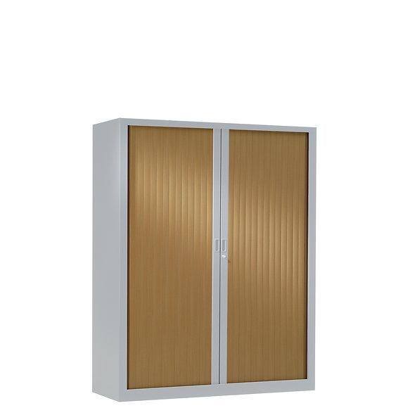 Armoire à rideaux bicolore 136 x 120 cm - Corps gris aluminium - Rideaux bois