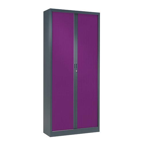 Armoire à rideaux bicolore 198 x 80 cm - Corps gris anthracite - Rideaux Color