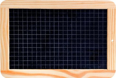 Ardoise naturelle avec cadre en bois 1 face quadrillée 18x26 cm