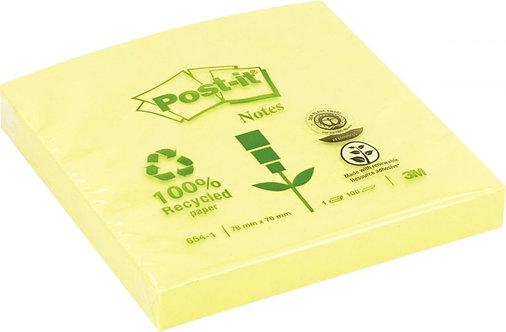 Bloc de 100 feuilles post-it recyclés 76 x 76 mm jaune