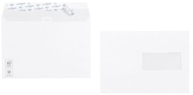 Boîte 500 enveloppes vélin blanches C5 162x229 90g/m² fenêtre 45x100