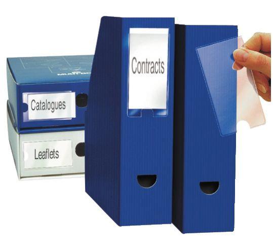 Blister de 6 porte-étiquettes adhésives en polypropylène format 55x150 mm