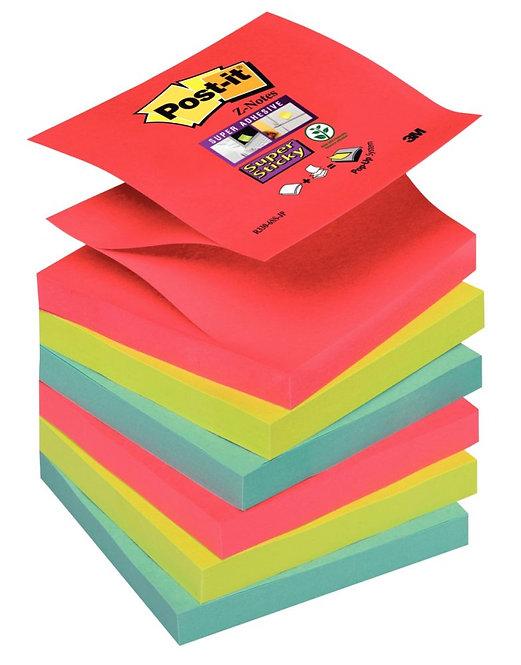 Lot 6 blocs 90 feuilles Z-Notes SuperSticky post-it 76x76 mm Bora Bora