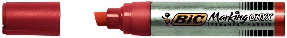 Marqueur permanent pointe biseautée base solvant indélébile rouge