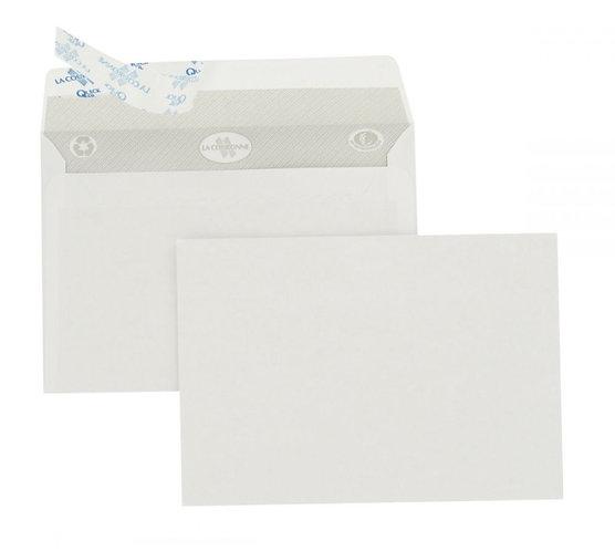 Boîte 500 enveloppes blanches format C6 114x162 90g/m² bande de protection