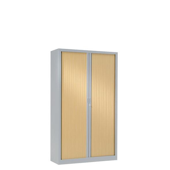 Armoire à rideaux bicolore 136 x 80 cm - Corps gris aluminium - Rideaux bois