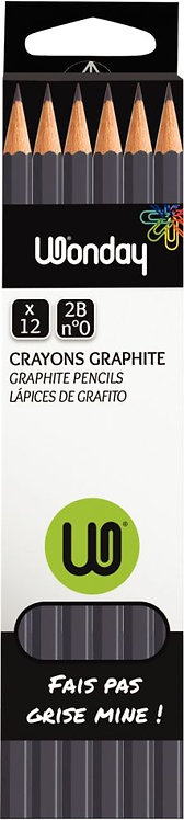 Boite de 12 crayons graphite bout tranché 2B