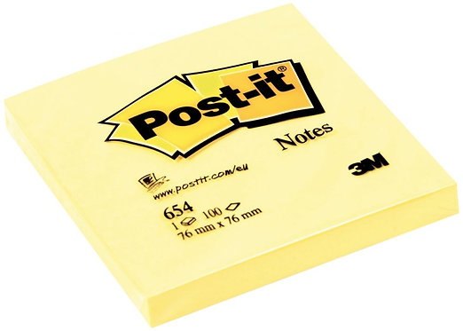 Bloc de 100 feuilles post-it notes jaune, 76 x 76 mm