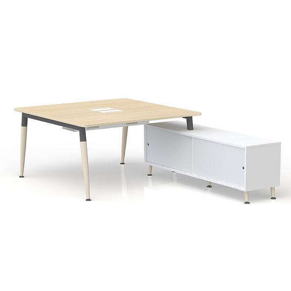 Table de bureau carrée sur retour porteur - Arche métallique Gris anthracite