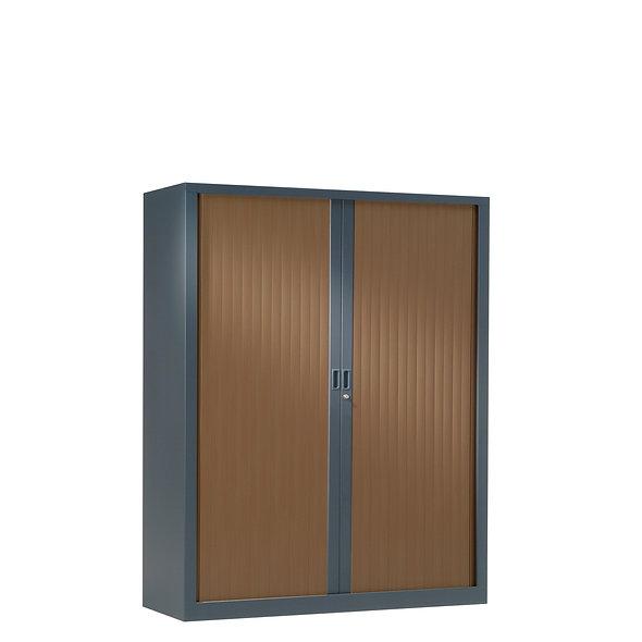 Armoire à rideaux bicolore 136 x 100 cm - Corps gris anthracite - Rideaux bois