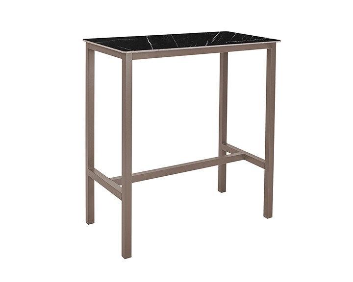 Table haute SWEB - Plateau Marbre Noir - Piétement Taupe