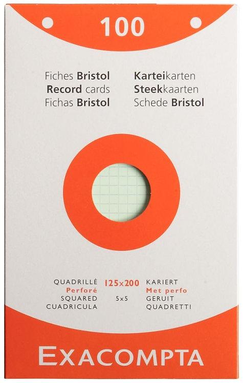 Boite 100 fiches bristol perforées carte forte 210g couleurs quadrillé 12,5x20cm