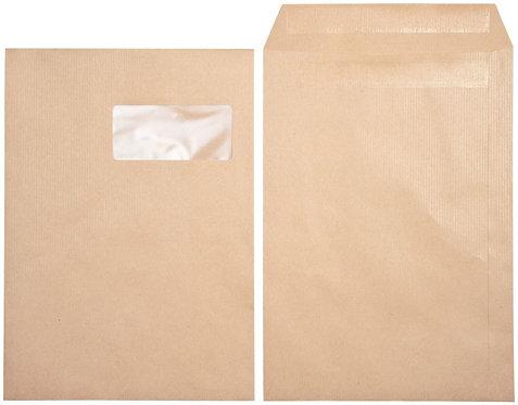 Boîte 250 sacs Kraft, 90g format 23X32, avec fenêtre 50mm, bande autocolante