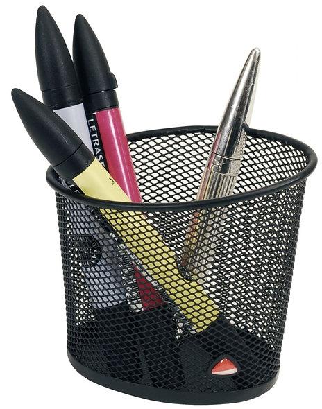 Pot à crayons en métal mesh noir