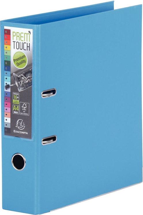 Classeur à levier en plastique PREM'TOUCH format A4 maxi dos 5 cm Bleu moyen