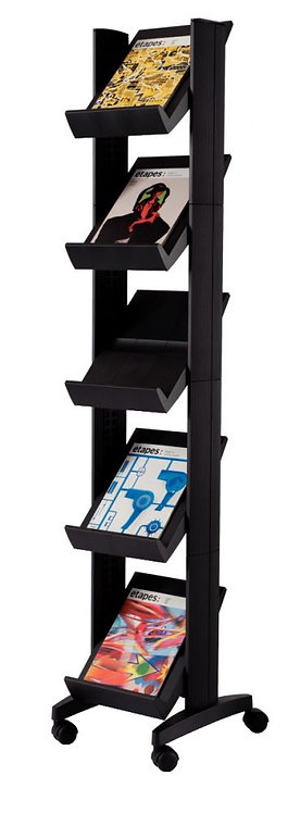 Présentoir mobile compact 5 tablettes  noir