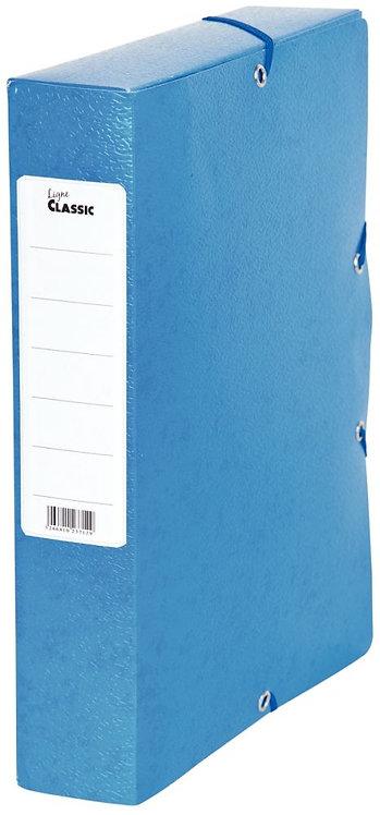 Boîte de classement en carte grainée, dos de 60 mm, coloris bleu