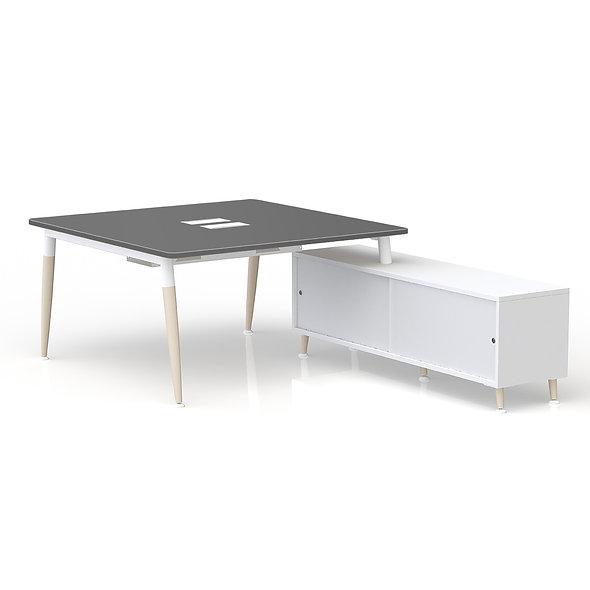 Table de bureau carrée sur retour porteur - Arche métallique Blanc
