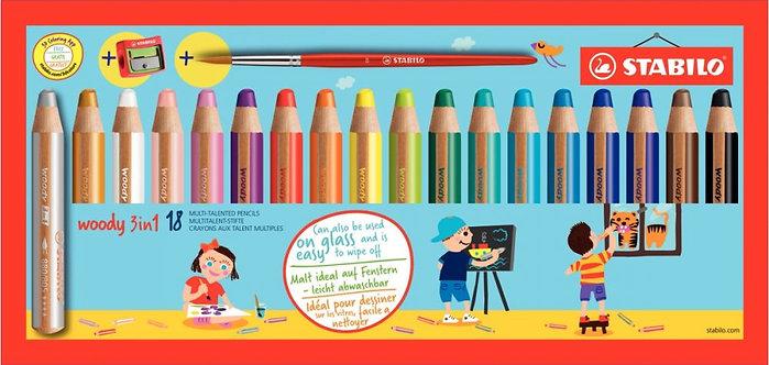 Etui de 18 crayons de couleur Woody + 1 taille-crayon + 1 pinceau