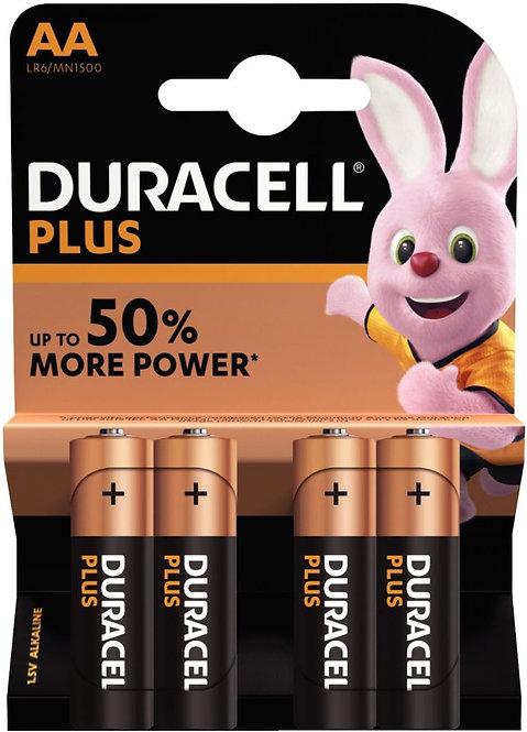 Blister de 4 piles 1.5 Volt alcaline LR06 PLUS à la marque Duracell