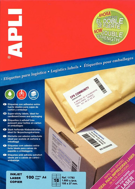 Boîte de 1600 étiquettes adhésives extra fortes blanches 105x37mm