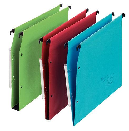 Paquet de 25 dossiers suspendus pour armoire, dos V, coloris bleu