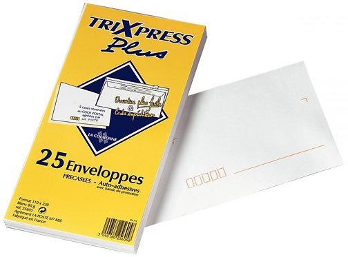 Paquet 25 enveloppes blanches DL 110x220 80g/m² bande de protection