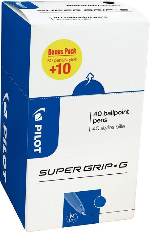 Pack de 40 stylos supergrip G bleu dont 10 gratuits