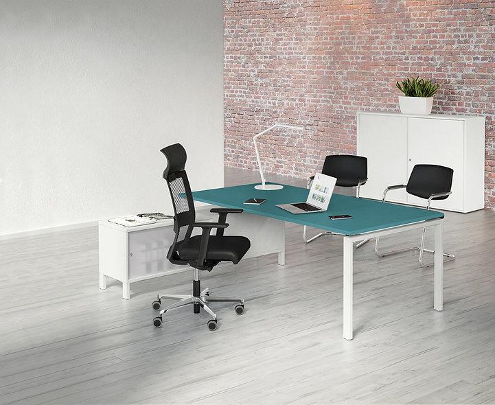 Bureau sur meuble porteur IRON - Plateau mélamine - Piétement Blanc