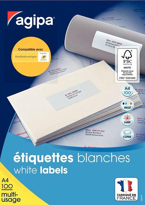 Boîte de 1600 étiquettes multi-usages blanches 99.1x33.9mm coins arrondis