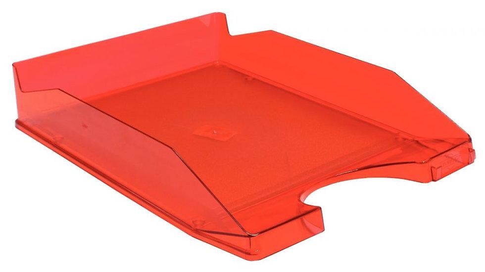 Corbeille à courrier translucide rouge