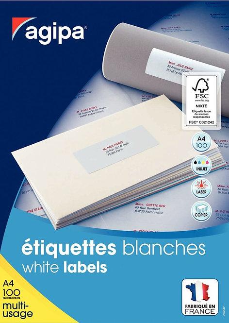Boîte de 1600 étiquettes multi-usages blanches 105x37mm coins droits