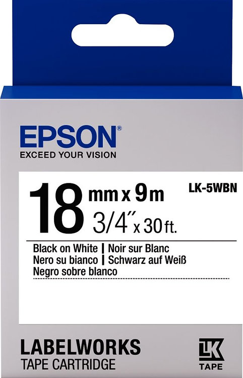 Recharge Epson LK 18mmx9m noir/blanc