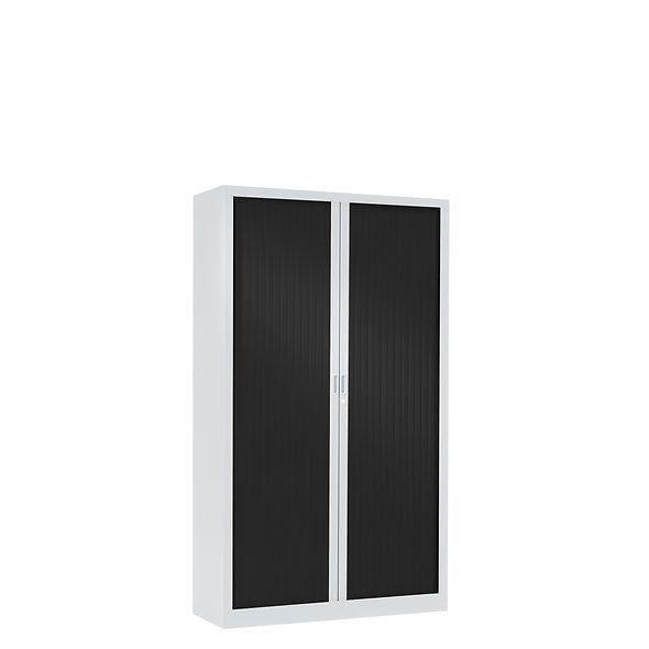 Armoire à rideaux bicolore 136 x 80 cm - Corps blanc - Rideaux Color